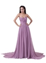 Lilac Strapless Crinkle Chiffon Sweep Train Prom Dress With Twist Front