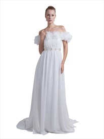 White Off The Shoulder Chiffon Flower Prom Dress With Beaded Detail