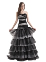 White And Black Mermaid Beaded Organza Prom Dress With Layered Skirt