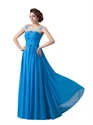 Blue Sheer Illusion Neckline Beaded Chiffon Prom Dress With Open Back