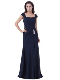 Navy Blue Side Gathered Cap Sleeves Chiffon Bridesmaid Dress Cowl Back