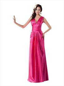 Elegant Hot Pink Satin Deep V Neck Sleeveless Dropped Waist Prom Dresses