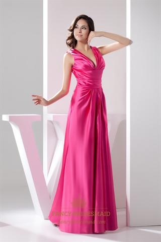 Elegant Hot Pink Satin Deep V Neck Sleeveless Dropped ...