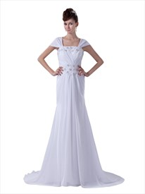 White Cap Sleeves Long Chiffon Sheath Prom Dress With Beaded Detail