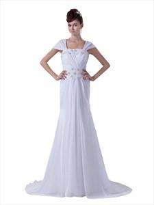 White Cap Sleeves Long Chiffon Sheath Prom Dress With Beaded Detail