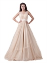 Champagne Illusion Top V Neck Sleeveless Tulle Prom Dresses With Sash
