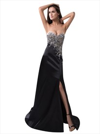 Black Strapless Sweetheart Beaded Bodice Sheath Prom Dress With Slits