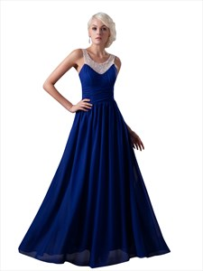 Royal Blue Chiffon Prom Dress With Beaded Neckline And Straps