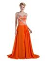 Orange One Shoulder Satin And Chiffon Prom Dress With Rhinestone