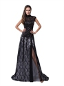 Black Illusion High Neck High Slit Lace And Sequin Prom Dress With Train