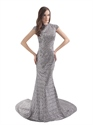 Silver Sequin High Neck Sweep Train Mermaid Prom Dress With Slits