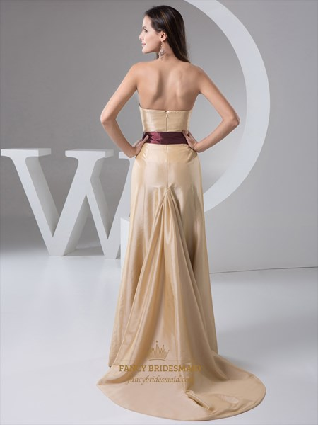 Champagne Strapless Taffeta Sweep Train Prom Dress With Brown Sash