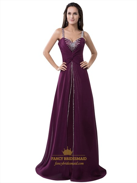Grape Chiffon Spaghetti Strap Prom Dress Beaded Neckline And Straps