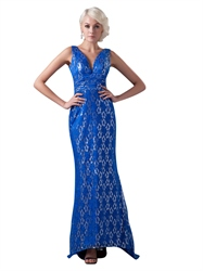 Royal Blue Mermaid Lace Sleeveless V-Neck Floor Length Prom Dress