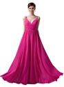Hot Pink V Neck Spaghetti Strap Chiffon Bridesmaid Dress With Ruching