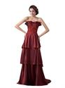 Burgundy Taffeta Beaded Layered Skirt Prom Dress With Applique Detail