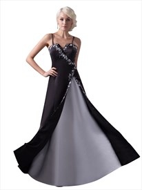 Black And White Spaghetti Strap Split Front Prom Dress With Embroidery