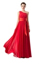 Red One Shoulder Chiffon Ruched Bridesmaid Dresses With Sashes