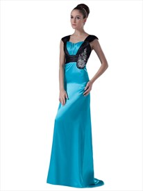Blue And Black Long Beaded Embellished Prom Dress With Cap Sleeves