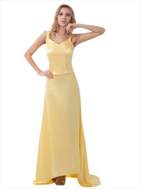 Yellow Sheath Spaghetti Strap V Neck Prom Dress With Criss Cross Back