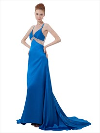 Blue V Neck Spaghetti Strap Beaded Embellished Prom Dress With Train