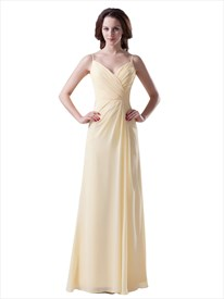 Yellow Spaghetti Strap V Neck Long Chiffon Bridesmaid Dress With Ruching
