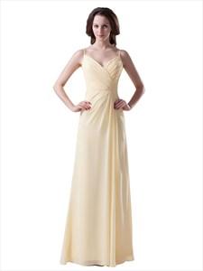Yellow Spaghetti Strap V Neck Long Chiffon Bridesmaid Dress With Ruching