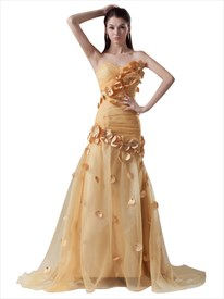 Gold Mermaid Sweetheart Sweep Train Organza Prom Dress With Petals