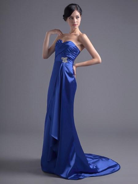 Royal Blue Strapless Satin Bridesmaid Dress With Beaded Waist Detail
