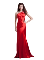 Red Mermaid One Shoulder Satin Ruched Prom Dress With Beaded Detail