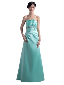 Mint Strapless Empire Beaded Waist Satin Ruched Bridesmaid Dress