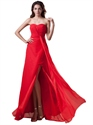 Red Chiffon Strapless Panel Train Bridesmaid Dresses With Twist Front
