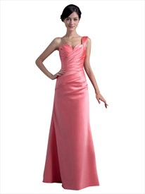 Coral One Shoulder Satin Sheath Long Bridesmaid Dresses With Ruching