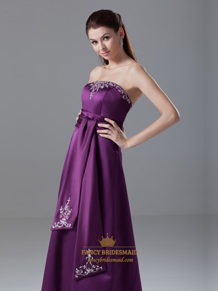 Elegant Purple Strapless Lace Embroidered Satin Prom Dress With Sash