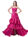 Hot Pink Taffeta Strapless Dress With Side Peplum And Layered Skirt