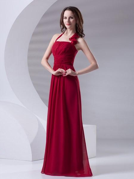 Red Chiffon Halter Floor Length Bridesmaid Dress With Ruffle Collar
