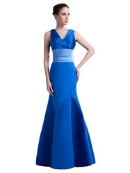 Royal Blue V Neck Sleeveless Satin Fit And Flare Prom Dress With Sash