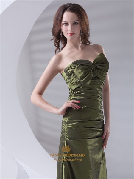 Olive Green Strapless Taffeta Lace Up Back Prom Dress With Bow Front