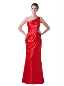 Red One Shoulder Gathered Front Bridesmaid Dress With Beaded Detail