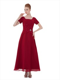 Burgundy Chiffon Square Neck Ankle Length Prom Dress With Short Sleeve