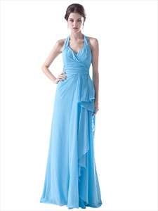 Light Blue Crinkle Chiffon Halter Bridesmaid Dress With Front Cascade