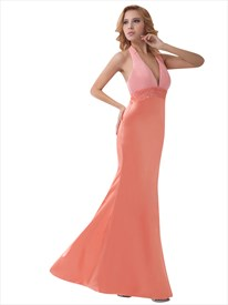 Salmon Halter Deep V Neck Open Back Beaded Empire Prom Dresses