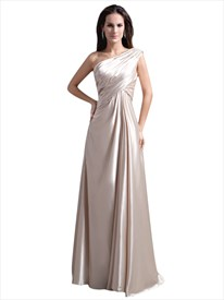 Light Champagne One Shoulder Long Bridesmaid Dresses With Beaded Strap
