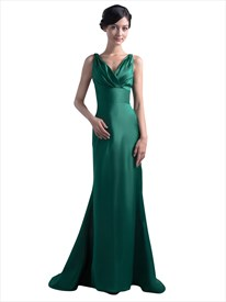 Vintage Emerald Green Mermaid V-Neck Prom Dress With Empire Waist