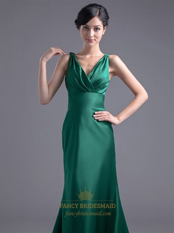 Vintage Emerald Green Mermaid V Neck Prom Dress With