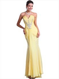 Yellow Mermaid Chiffon Strapless Prom Dress With Ruched Bust And Beading