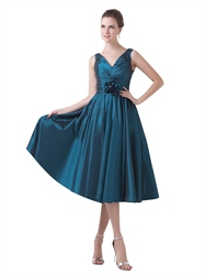 Teal Taffeta V Neck Tea Length Bridesmaid Dresses With Flower Detail