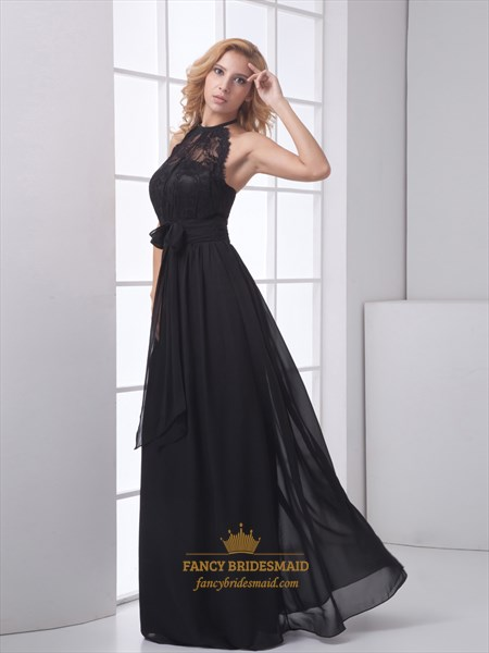 aedce250d299 Black Chiffon Illusion Halter Top Open Back Prom Dress With Lace Bodice