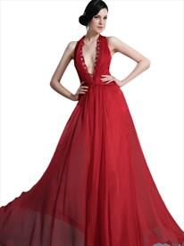 Red Halter Deep V Neck Beaded Neckline Chiffon Floor Length Prom Dress