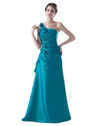 Teal Taffeta One Shoulder Pleated Beading Prom Dress With Petal Detail